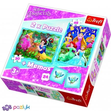 2 в 1 (30,48) эл.+ Мемос – Необычный мир Принцесс / Disney Princess / Trefl