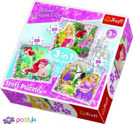 3 в 1 (20,36,50) ел. - Принцеси Рапунцель, Аврора та Аріель / Disney Princess / Trefl