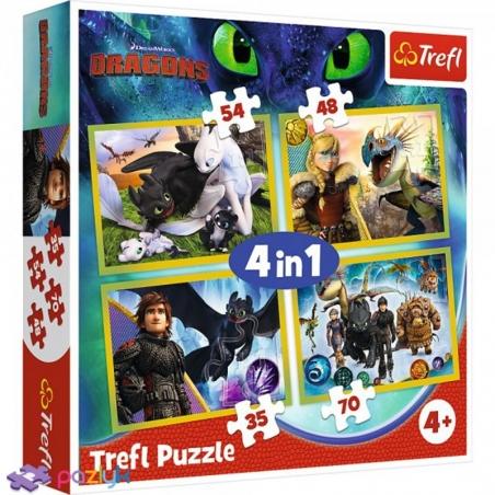 4 в 1 (35,48,54,70) эл. - Как приручить дракона? / Universal How to Train Your Dragon / Trefl