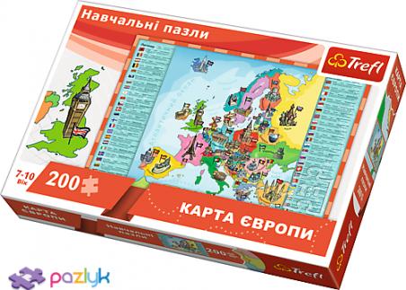 200 ел. Навчальні - Карта Європи для дітей (україномовна версія) / Trefl