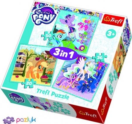 3 в 1 (20,36,50) эл. - Счастливые дни маленьких Пони / Hasbro, My Little Pony / Trefl