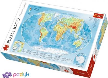 1000 эл. - Физическая карта мира / Trefl