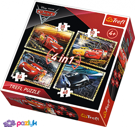 4 в 1 (35,48,54,70) эл. – Тачки 3. К гонке готовы / Disney Cars 3 / Trefl