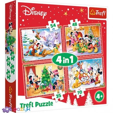 4 в 1 (35,48,54,70) ел. - Мишка Міккі та друзі. Різдвяний час / Disney Standard Characters / Trefl