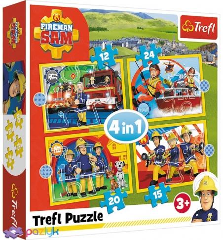 4 в 1 (12,15,20,24) ел. - Пожежник Сем та його команда / Prism A&D Fireman Sam / Trefl