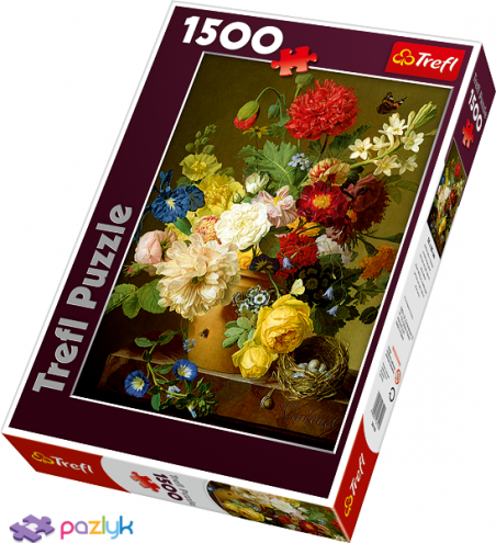 1500 эл. - Жан Франсуа Ван Даль. Натюрморт с цветами / Trefl