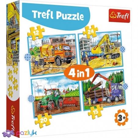4 в 1 (12,15,20,24) эл. - Большие строительные машины / Trefl