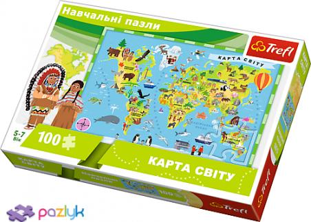 100 эл. Учебные - Карта мира для детей (украиноязычная версия) / Trefl