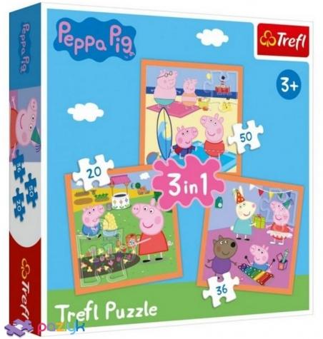 3 в 1 (20,36,50) эл. - Изобретательная Свинка Пеппа / Peppa Pig / Trefl