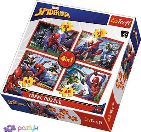 4 в 1 (35, 48, 54,70) ел. - У сітці спайдермена / Disney Marvel Spiderman / Trefl