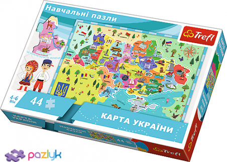 44 эл. Учебные - Карта Украины для детей (украиноязычная версия) / Trefl