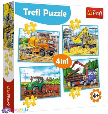 4 в 1 (35, 48, 54,70) эл. - Большие строительные машини / Trefl
