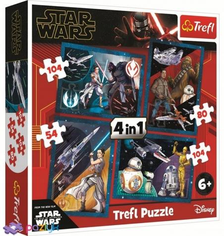 4 в 1 (54,80,104,104) эл. - Звездные войны. Эпизод IX. Почувствуй силу / Lucasfilm Star Wars Episode IX / Trefl