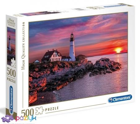 500 ел. High Quality Collection - Захід сонця над маяком, Портленд, США / Clementoni
