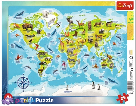25 ел. Рамкові - Карта світу з тваринами / Trefl
